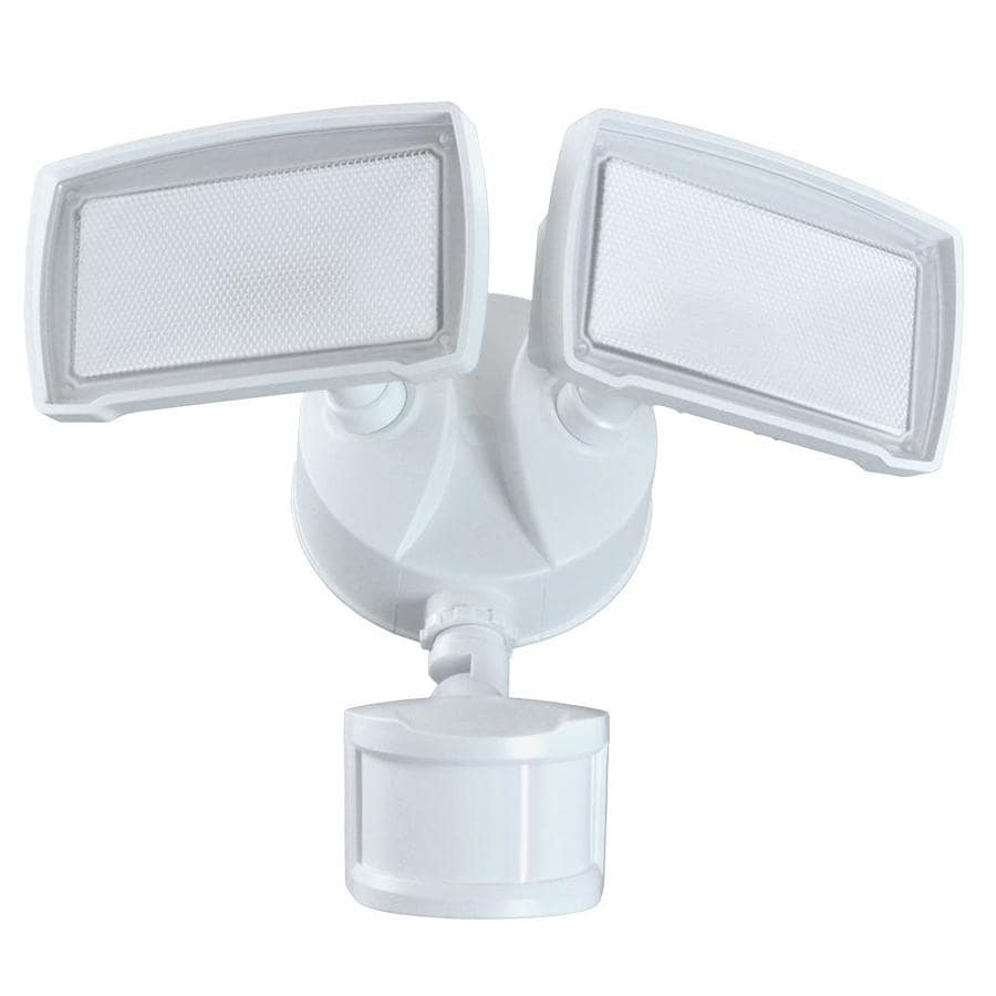 Good Earth Lighting 180-Degree 2-Head White Integrated LED Motion-Activated Flood Light with Timer