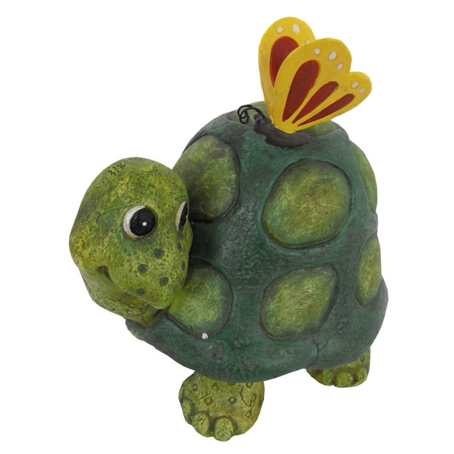 Shop 8-in H Turtle W/ Butterfly Garden Statue at Lowes.com