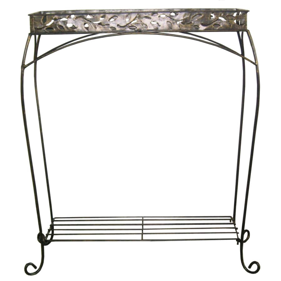Garden Treasures 30 In Plant Stand Cabin Leaf Trough 2 Tier
