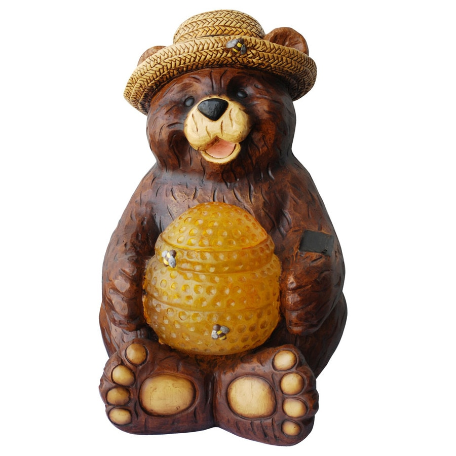 16-1/2-in H Bear with Solar Beehive Garden Statue