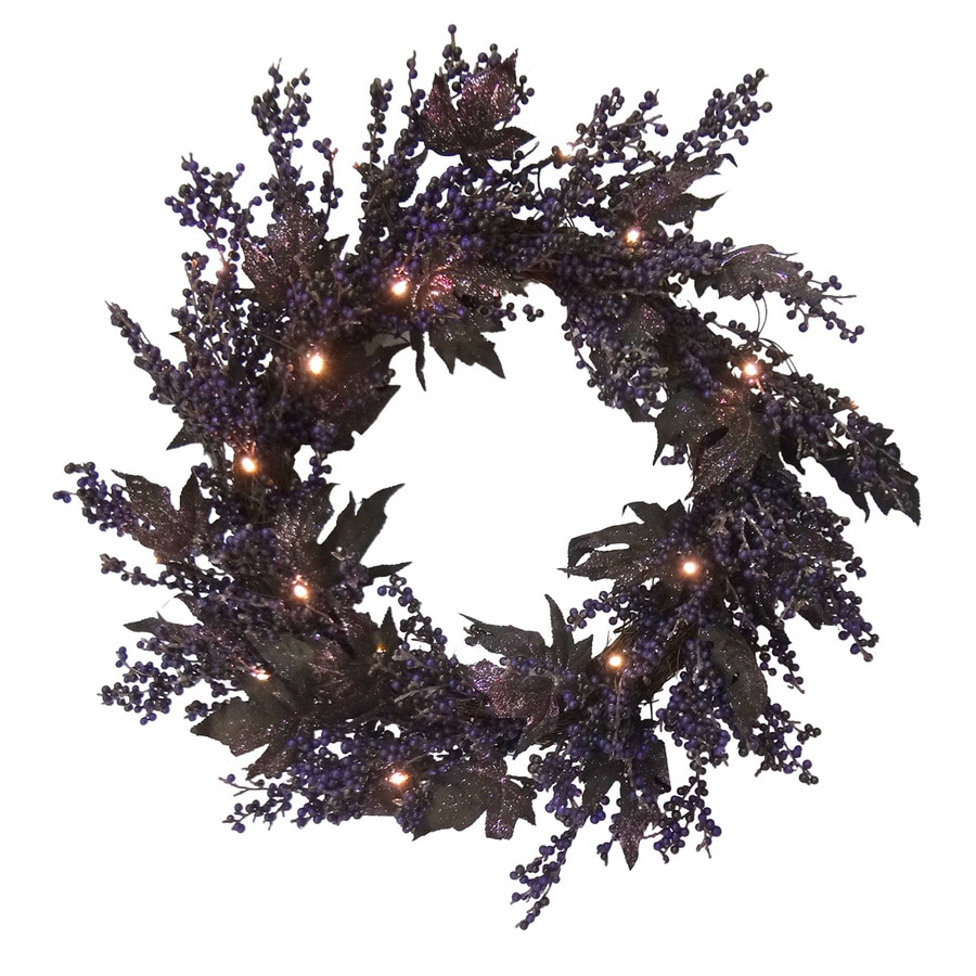 Holiday Living 24-in Pre-lit Indoor/Outdoor Berry Artificial Halloween Wreath with White LED Lights