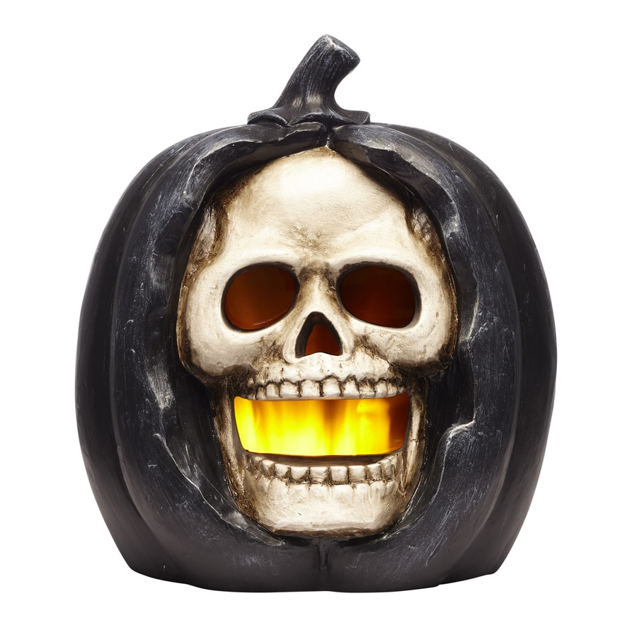 Holiday Living Pre-Lit Skeleton And Pumpkin Greeter with Constant Orange LED Lights