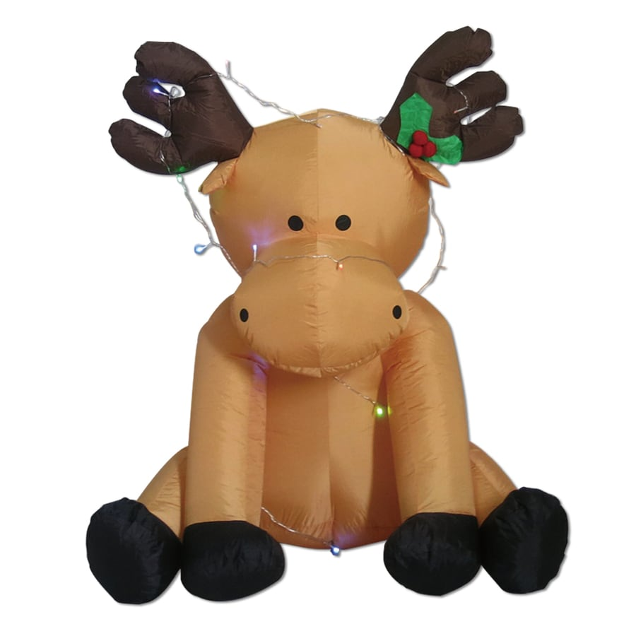 Perfect Holiday Living 3.94 Ft X 3.05 Ft Lighted Reindeer Christmas Inflatable