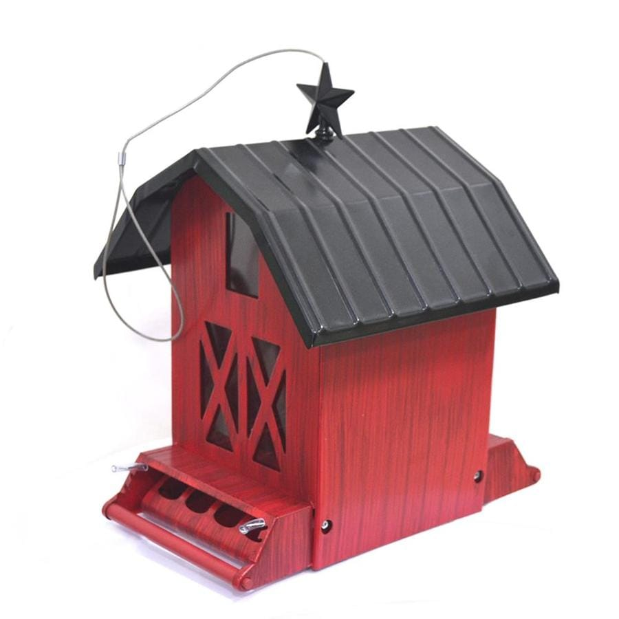 Wild Bird Rustic Red Metal Squirrel-Resistant Hopper Bird Feeder