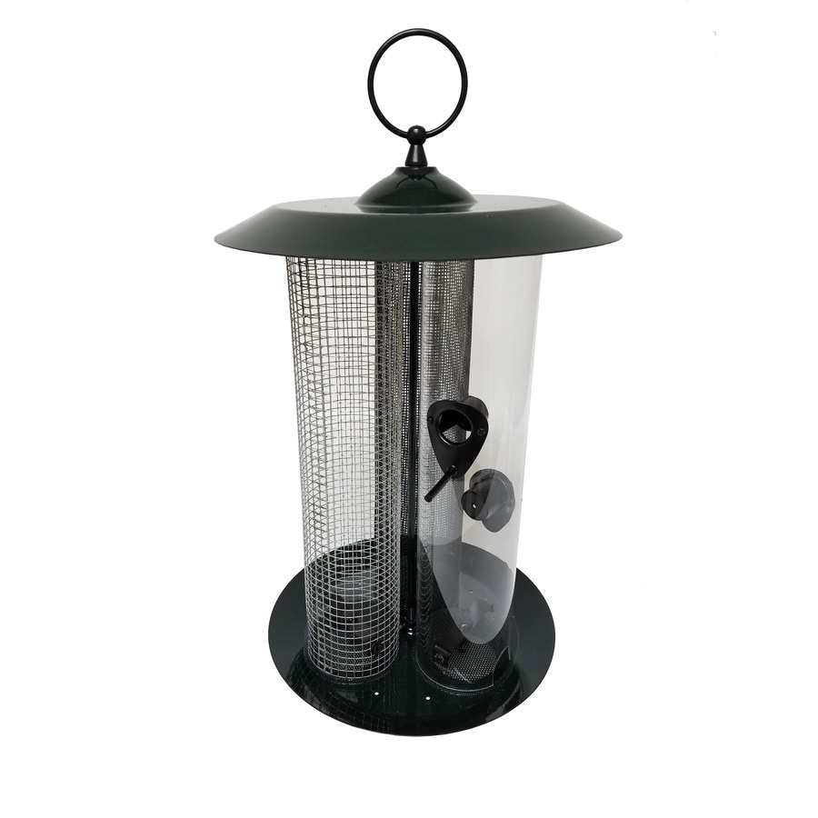 Wild Bird Dark Green Metal Tube Bird Feeder
