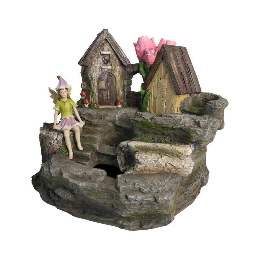 Garden Treasures Fairy Garden Fountain 20.39 In Resin Fountain Statue