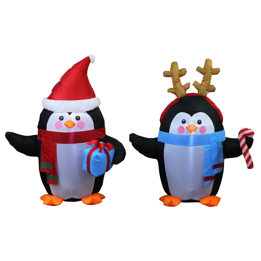 holiday living 3 ft x 2 ft lighted penguin christmas inflatable