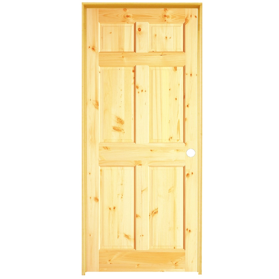 ReliaBilt Brown/Unfinished 6 Panel Wood Pine Single Prehung Door (Common: 36