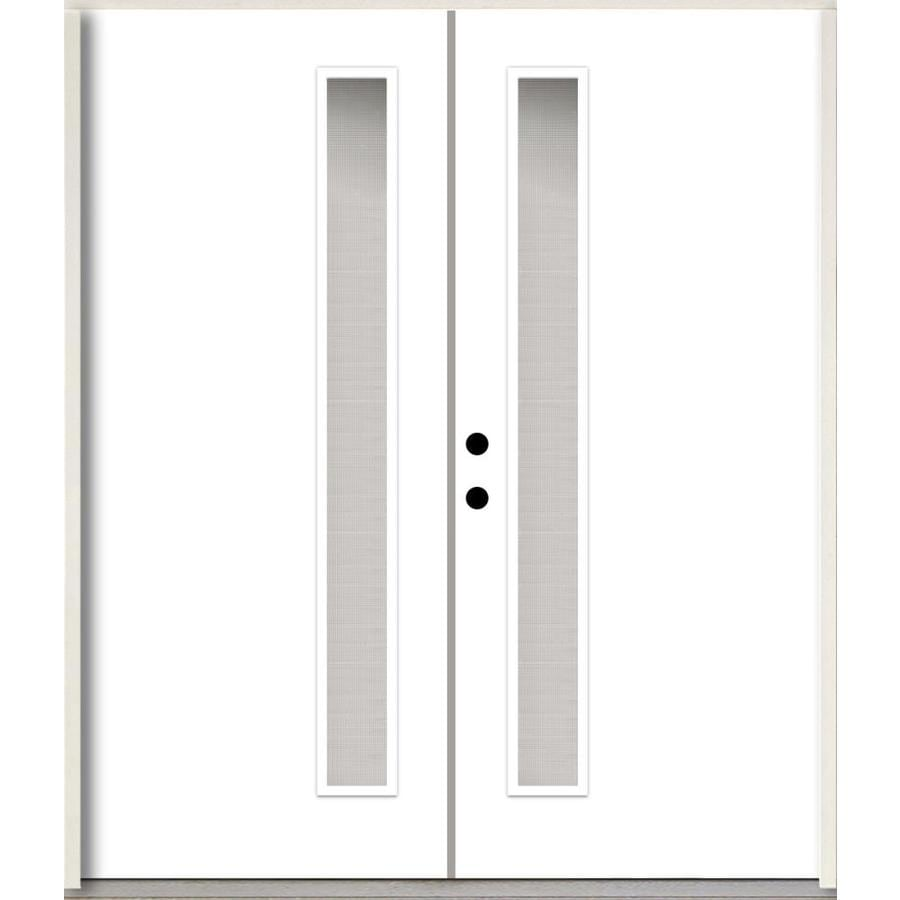 ea9c30dfe00 ReliaBilt Spotlights 1 4 Lite Textured Glass Right-Hand Inswing Primed  Fiberglass Prehung Double Entry Door with Insulating Core (Common  72-in x  80-in  ...