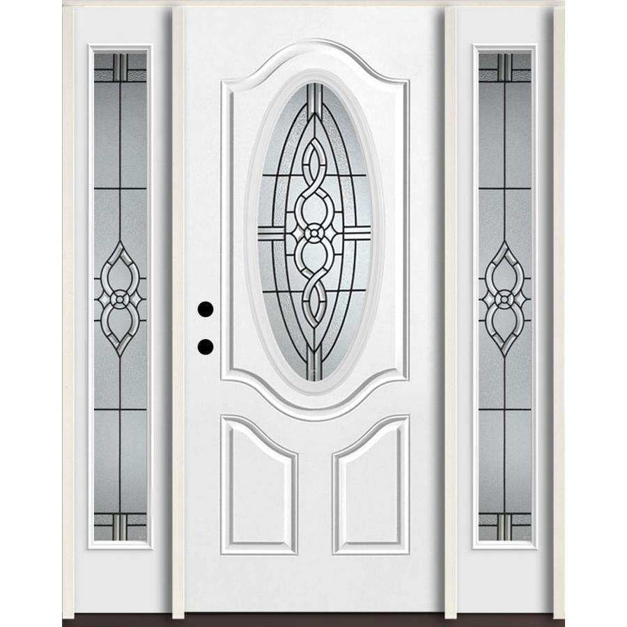 ReliaBilt Calista Oval Lite Decorative Glass Right Hand Inswing Fiberglass  Prehung Entry Door With Sidelights
