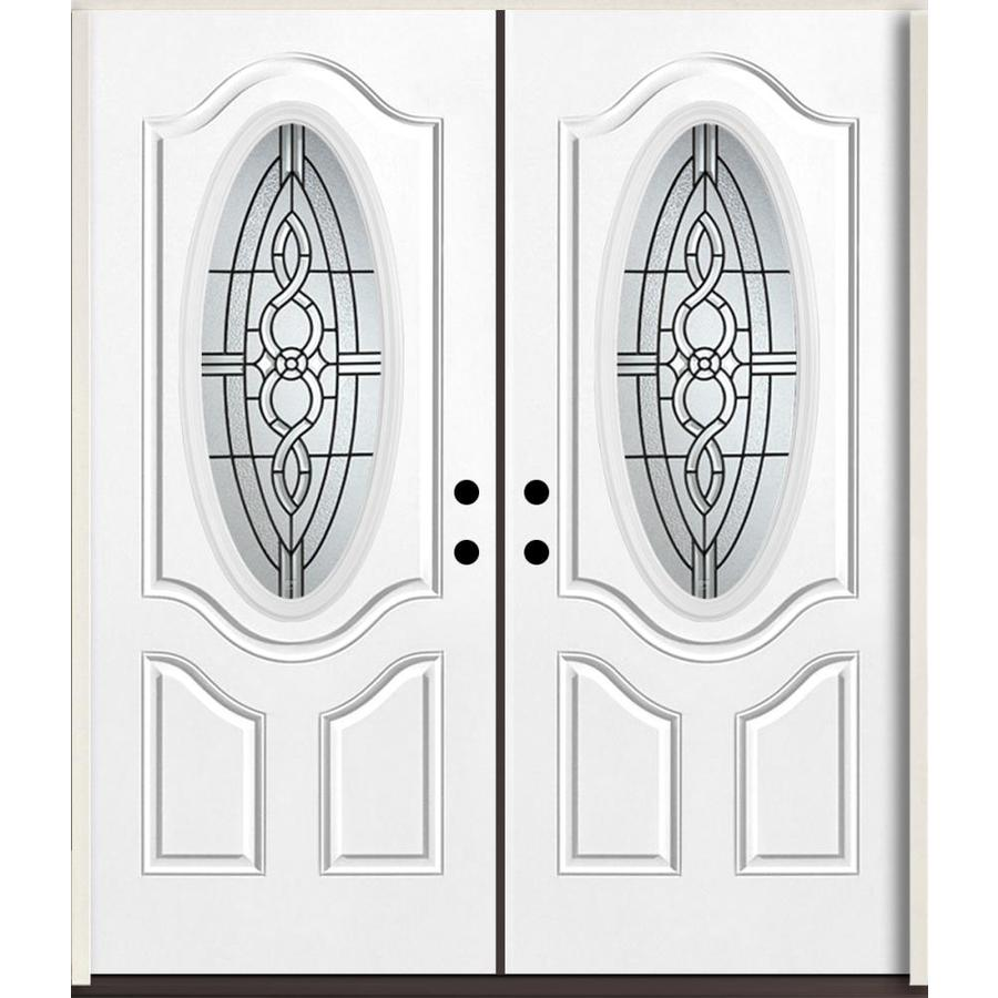 ReliaBilt Calista Oval Lite Decorative Glass Right-Hand Inswing Fiberglass Prehung Double Entry Door with Insulating Core (Common: 72-in X 80-in; Actual: 73.875-in x 81.75-in)
