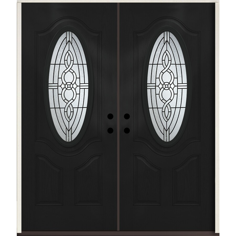 ReliaBilt Calista Oval Lite Decorative Glass Right-Hand Inswing Peppercorn Painted Fiberglass Prehung Double Entry Door with Insulating Core (Common: 72-in X 80-in; Actual: 73.875-in x 81.75-in)