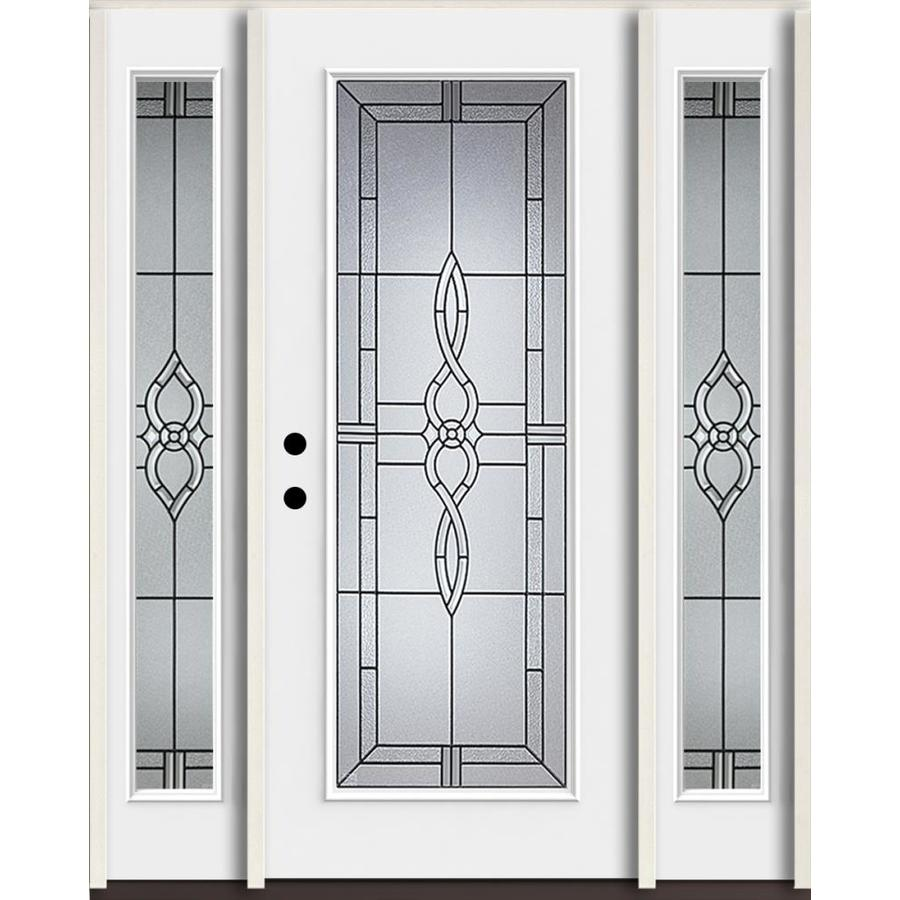 ReliaBilt Calista Full Lite Decorative Glass Right Hand Inswing Fiberglass  Prehung Entry Door With Sidelights