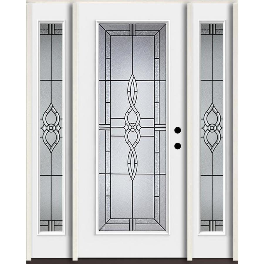 ReliaBilt Calista Full Lite Decorative Glass Left Hand Inswing Fiberglass  Prehung Entry Door With Sidelights