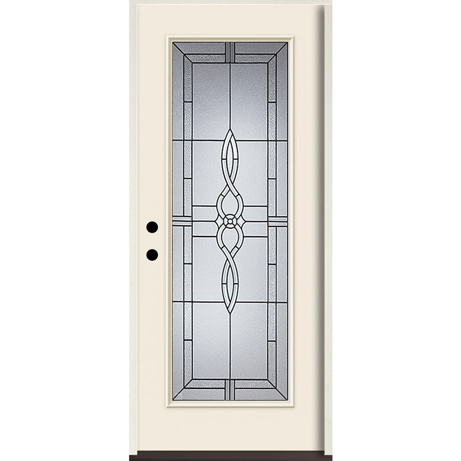 ReliaBilt Calista Full Lite Decorative Glass Right-Hand Inswing Bisque Painted Fiberglass Prehung Entry Door with Insulating Core (Common: 36-in X 80-in; Actual: 37.5-in x 81.75-in)
