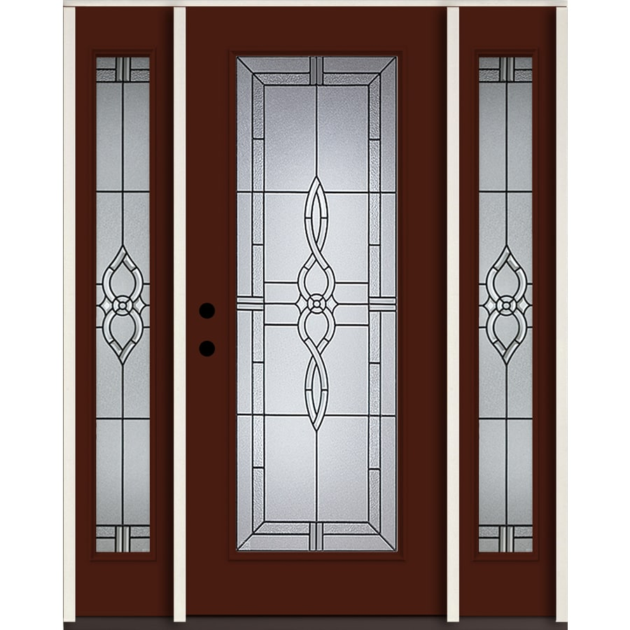 ReliaBilt Calista Full Lite Decorative Glass Right-Hand Inswing Currant Painted Fiberglass Prehung Entry Door with Sidelights and Insulating Core (Common: 60-in X 80-in; Actual: 64.5-in x 81.75-in)