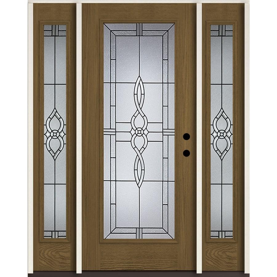 ReliaBilt Calista Full Lite Decorative Glass Left Hand Inswing Walnut  Stained Fiberglass Prehung Entry Door
