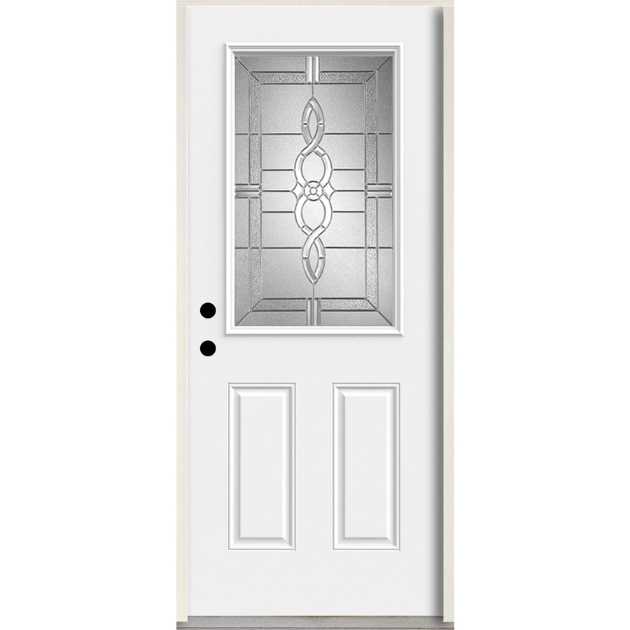 ReliaBilt Calista Half Lite Decorative Glass Right-Hand Inswing Arctic White Painted Fiberglass Prehung Entry Door with Insulating Core (Common: 36-in X 80-in; Actual: 37.5-in x 81.75-in)
