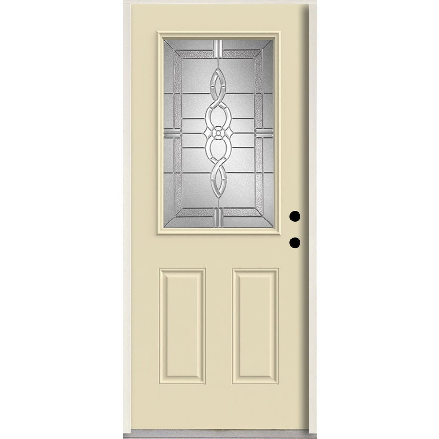 ReliaBilt Calista Half Lite Decorative Glass Left-Hand Inswing Bisque Painted Fiberglass Prehung Entry Door with Insulating Core (Common: 36-in X 80-in; Actual: 37.5-in x 81.75-in)
