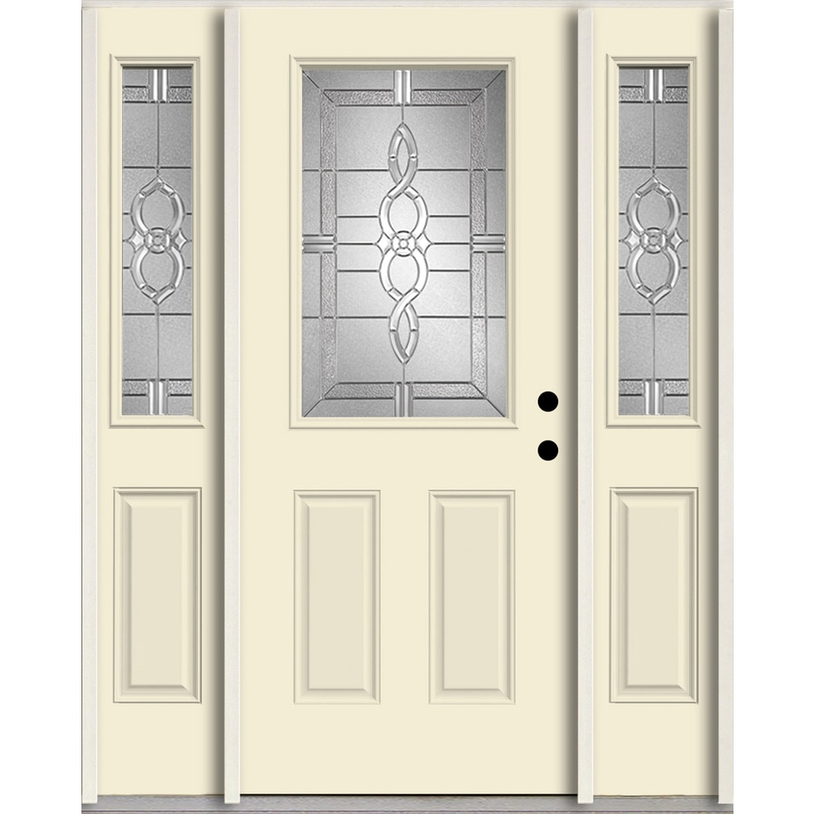 ReliaBilt Calista Half Lite Decorative Glass Left-Hand Inswing Bisque Painted Fiberglass Prehung Entry Door with Sidelights and Insulating Core (Common: 60-in X 80-in; Actual: 64.5-in x 81.75-in)
