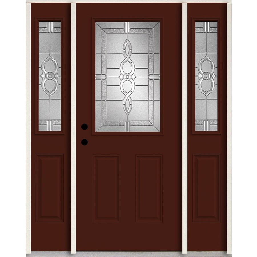 ReliaBilt Calista Half Lite Decorative Glass Right-Hand Inswing Currant Painted Fiberglass Prehung Entry Door with Sidelights and Insulating Core (Common: 60-in X 80-in; Actual: 64.5-in x 81.75-in)