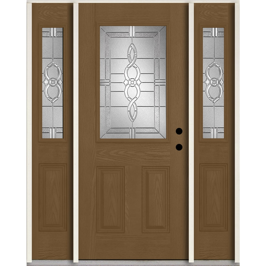 ReliaBilt Calista Half Lite Decorative Glass Left-Hand Inswing Woodhaven Stained Fiberglass Prehung Entry Door with Sidelights and Insulating Core (Common: 60-in X 80-in; Actual: 64.5-in x 81.75-in)