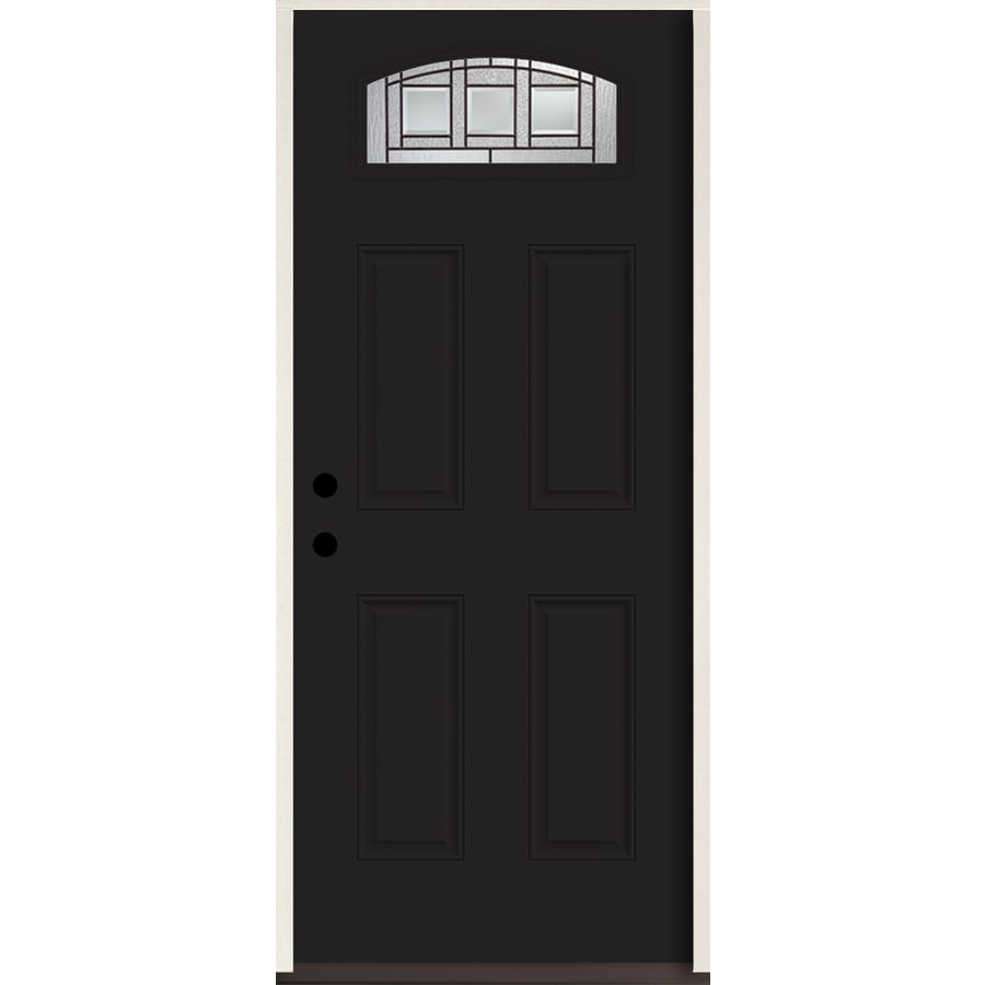 ReliaBilt Craftsman 1/4 Lite Decorative Glass Right-Hand Inswing Peppercorn Painted Fiberglass Prehung Entry Door with Insulating Core (Common: 36-in X 80-in; Actual: 37.5-in x 81.75-in)
