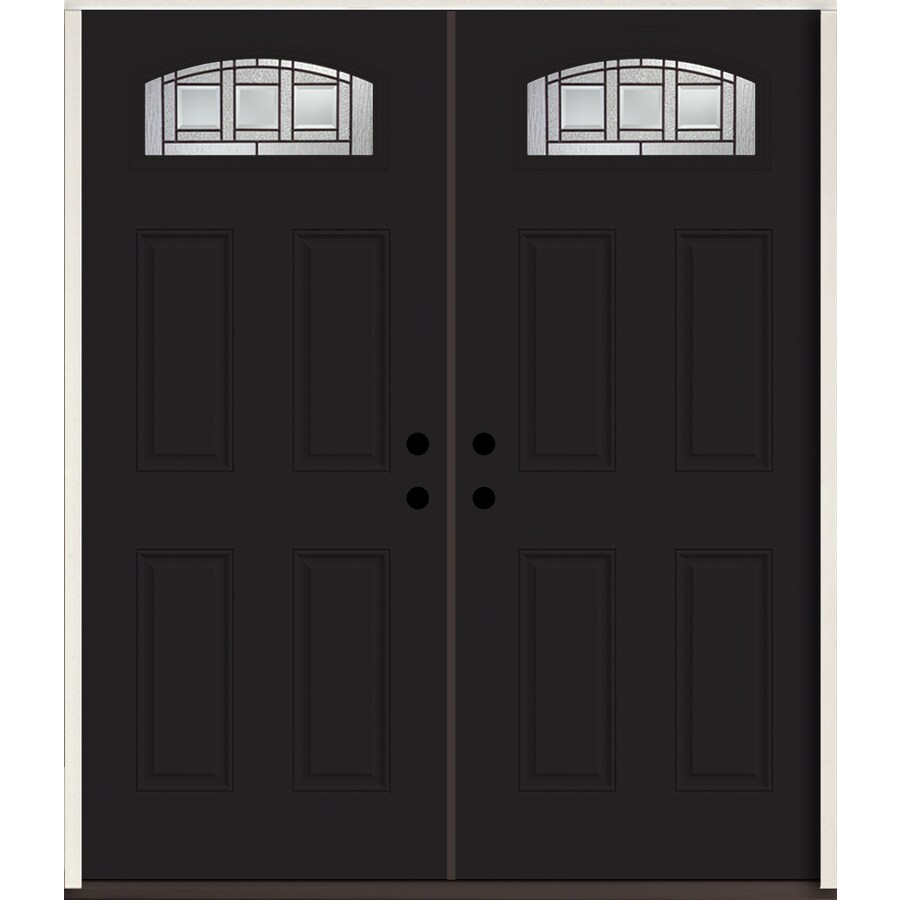 ReliaBilt Craftsman 1/4 Lite Decorative Glass Right-Hand Inswing Peppercorn Painted Fiberglass Prehung Double Entry Door with Insulating Core (Common: 72-in X 80-in; Actual: 73.875-in x 81.75-in)
