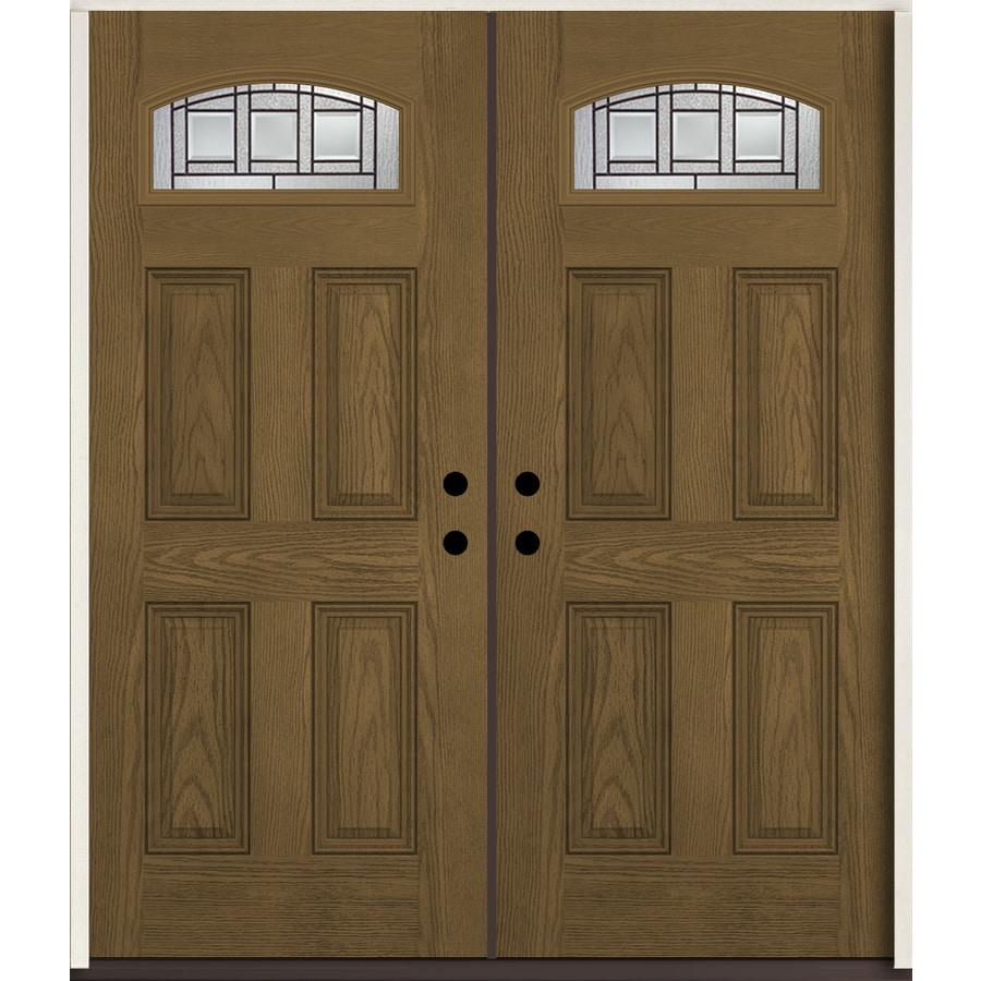 Shop reliabilt craftsman 1 4 lite decorative glass left hand inswing walnut stained fiberglass for Reliabilt decorative glass interior doors
