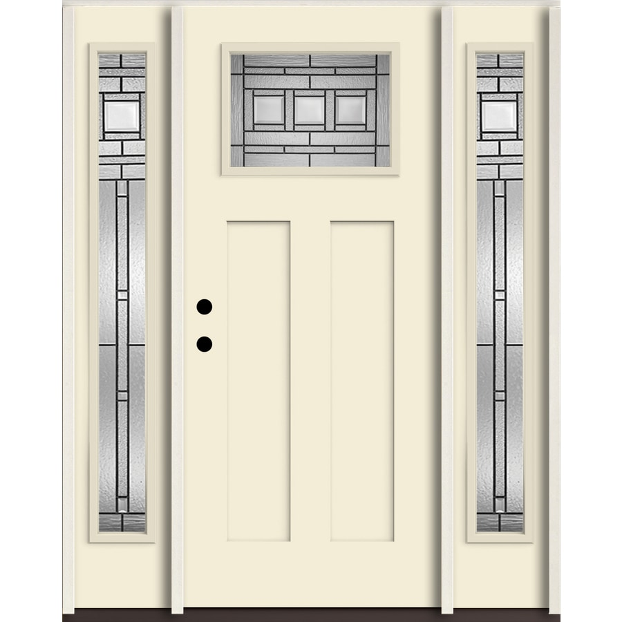 ReliaBilt Craftsman Decorative Glass Right Hand Inswing Bisque Painted  Fiberglass Prehung Entry Door With Sidelights