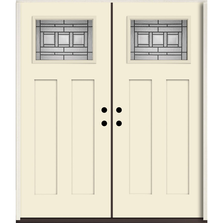 ReliaBilt Craftsman Decorative Glass Right-Hand Inswing Bisque Painted Fiberglass Prehung Double Entry Door with Insulating Core (Common: 72-in X 80-in; Actual: 73.875-in x 81.75-in)