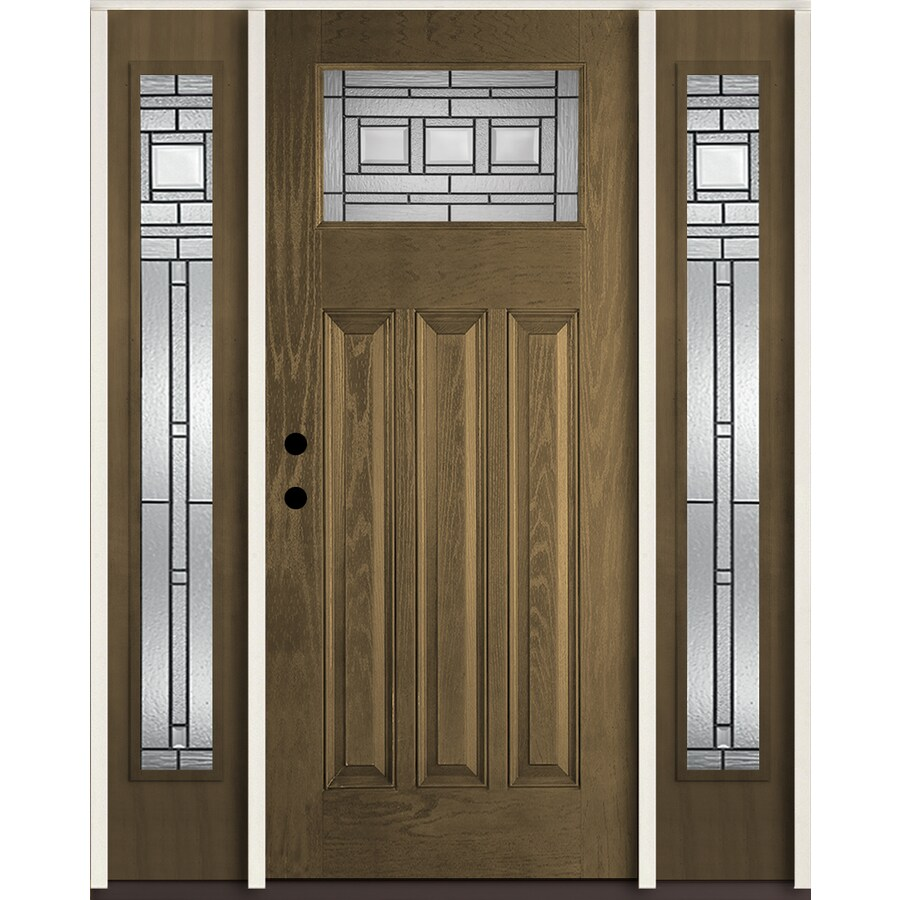 Shop reliabilt craftsman decorative glass right hand inswing walnut stained fiberglass prehung for Lowes exterior doors with sidelites