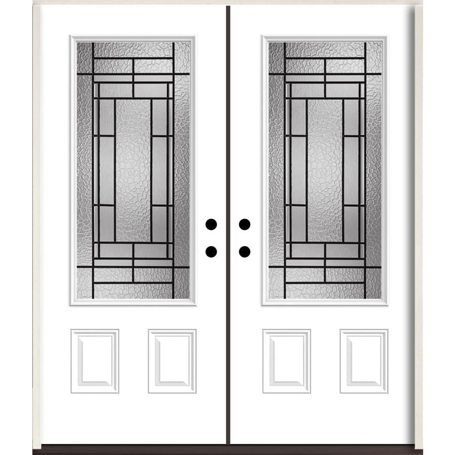 ReliaBilt Pembrook 3/4 Lite Decorative Glass Left-Hand Inswing Fiberglass Prehung Double Entry Door with Insulating Core (Common: 72-in X 80-in; Actual: 73.875-in x 81.75-in)