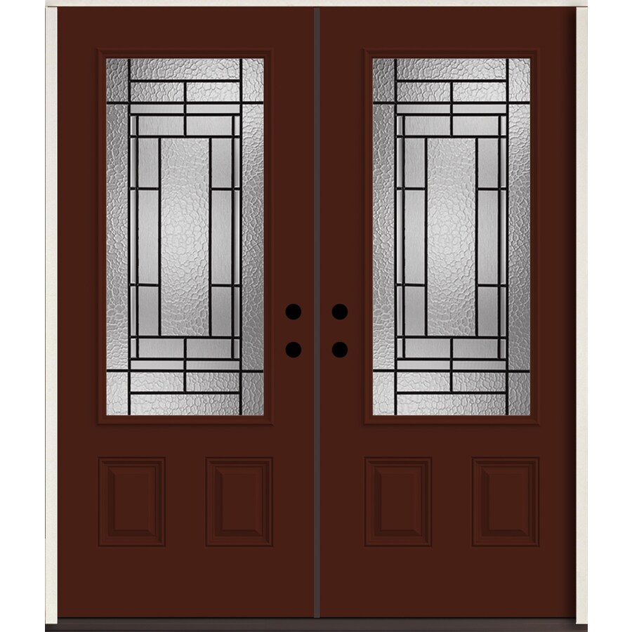 ReliaBilt Pembrook 3/4 Lite Decorative Glass Right-Hand Inswing Currant Painted Fiberglass Prehung Double Entry Door with Insulating Core (Common: 72-in X 80-in; Actual: 73.875-in x 81.75-in)