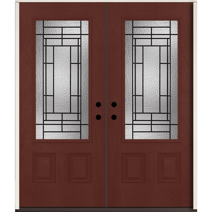 Shop reliabilt pembrook 3 4 lite decorative glass left for Decorative glass for entry doors