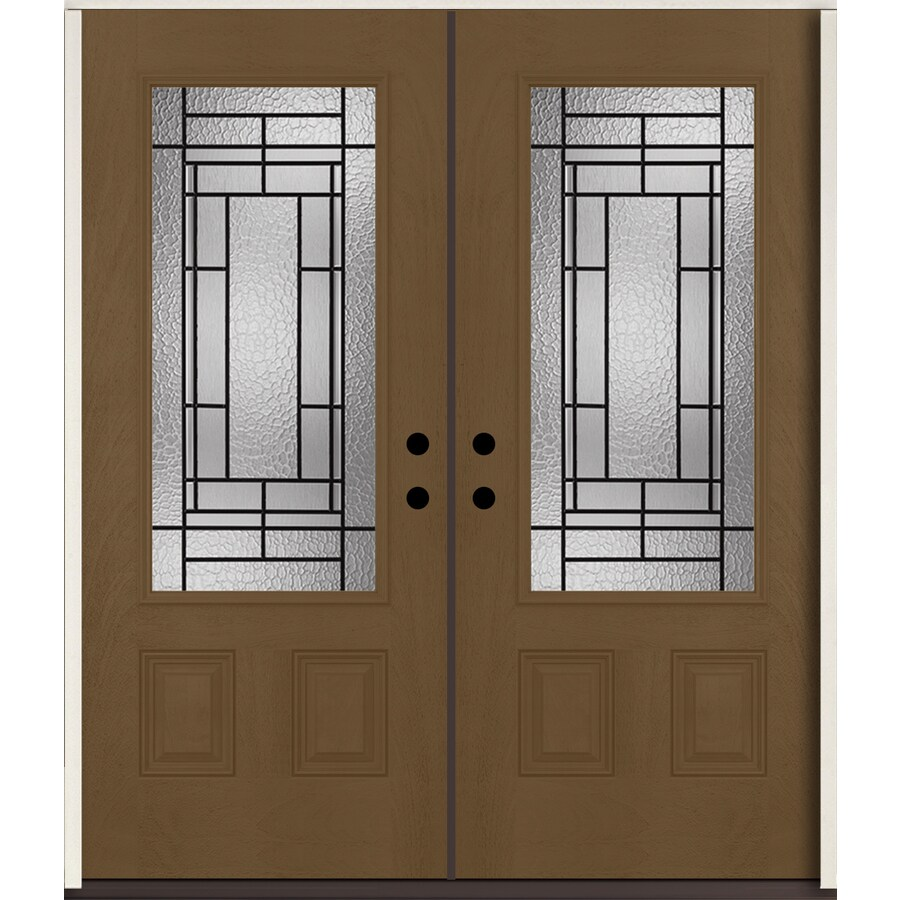 ReliaBilt Pembrook 3/4 Lite Decorative Glass Left-Hand Inswing Woodhaven Stained Fiberglass Prehung Double Entry Door with Insulating Core (Common: 72-in X 80-in; Actual: 73.875-in x 81.75-in)