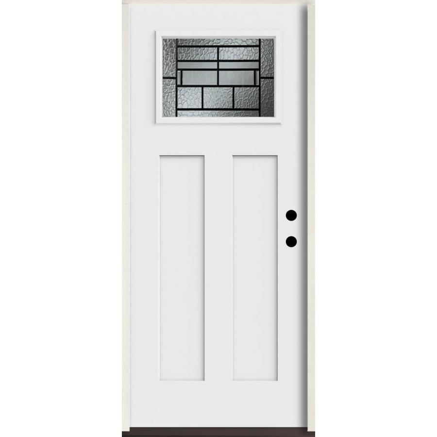 ReliaBilt Pembrook Craftsman Decorative Glass Left-Hand Inswing Fiberglass Prehung Entry Door with Insulating Core (Common: 36-in X 80-in; Actual: 37.5-in x 81.75-in)