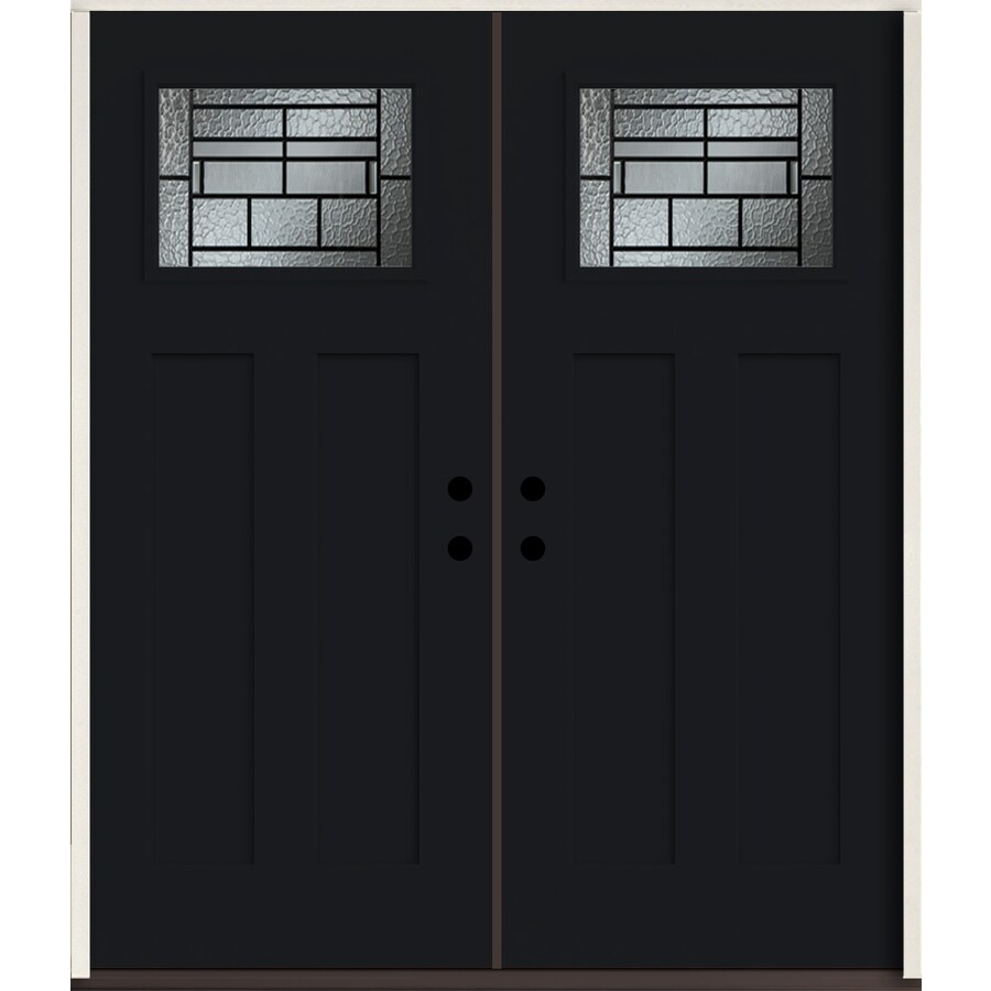 ReliaBilt Pembrook Craftsman Decorative Glass Right-Hand Inswing Peppercorn Painted Fiberglass Prehung Double Entry Door with Insulating Core (Common: 72-in X 80-in; Actual: 73.875-in x 81.75-in)