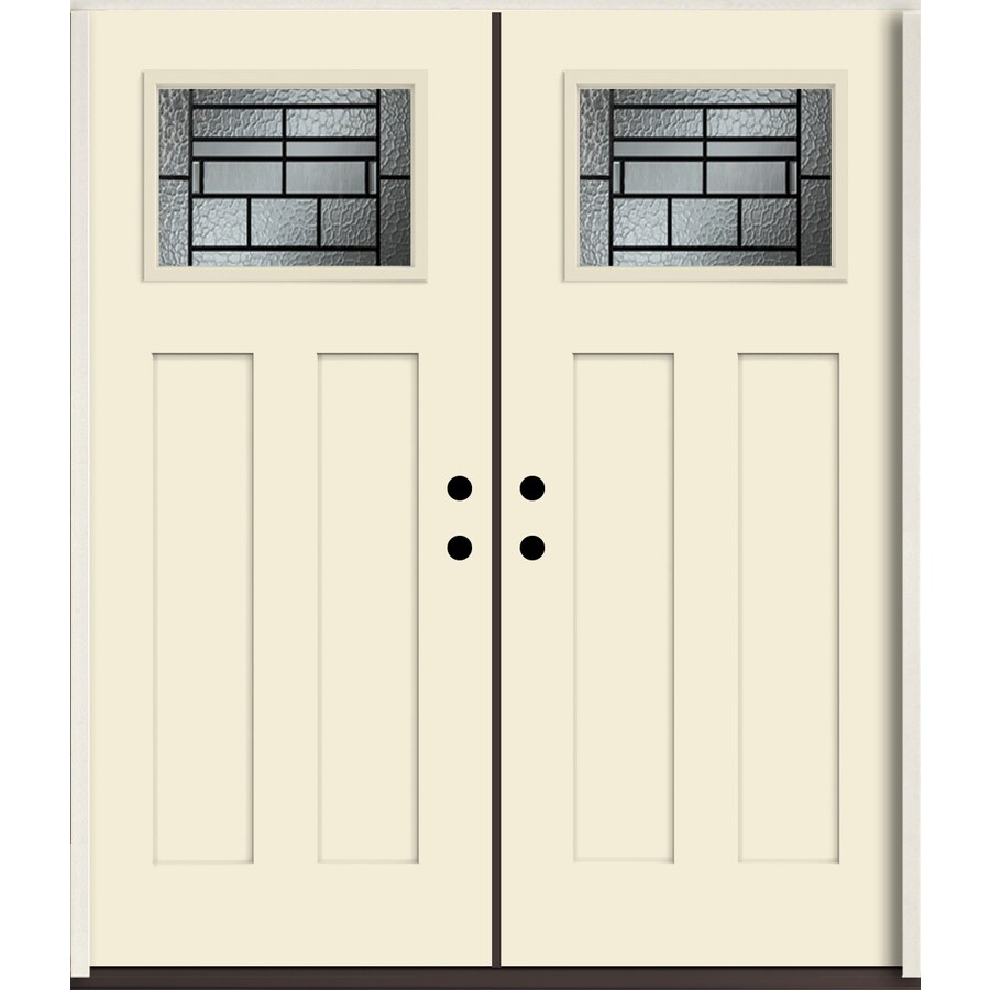 ReliaBilt Pembrook Craftsman Decorative Glass Left-Hand Inswing Bisque Painted Fiberglass Prehung Double Entry Door with Insulating Core (Common: 72-in X 80-in; Actual: 73.875-in x 81.75-in)