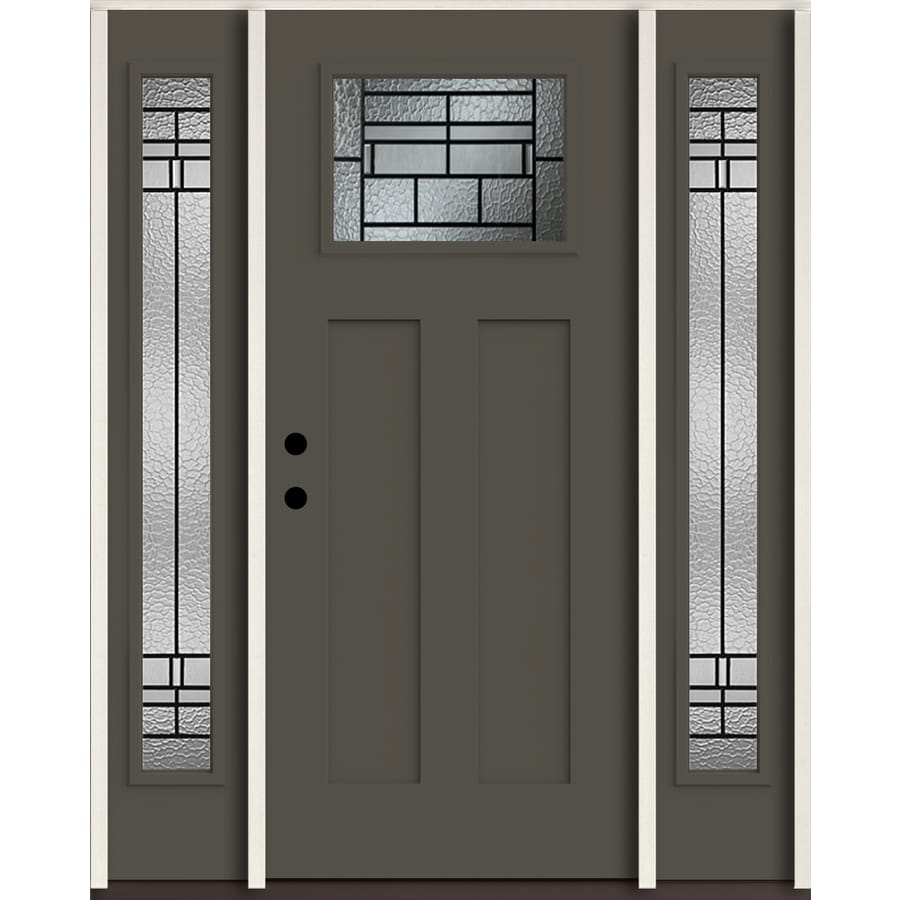 ReliaBilt Pembrook Craftsman Decorative Glass Right-Hand Inswing Thunder Gray Painted Fiberglass Prehung Entry Door with Sidelights and Insulating Core (Common: 60-in X 80-in; Actual: 64.5-in x 81.75-in)