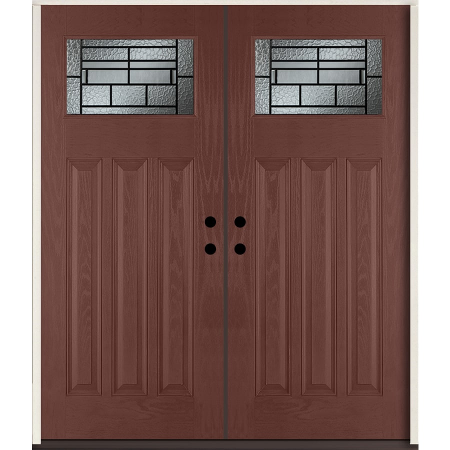ReliaBilt Pembrook Craftsman Decorative Glass Right-Hand Inswing Wineberry Stained Fiberglass Prehung Double Entry Door with Insulating Core (Common: 72-in X 80-in; Actual: 73.875-in x 81.75-in)