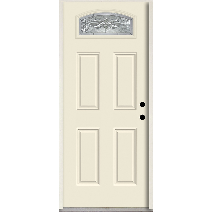 ReliaBilt Hampton 1/4 Lite Decorative Glass Left-Hand Inswing Bisque Painted Fiberglass Prehung Entry Door with Insulating Core (Common: 36-in X 80-in; Actual: 37.5-in x 81.75-in)