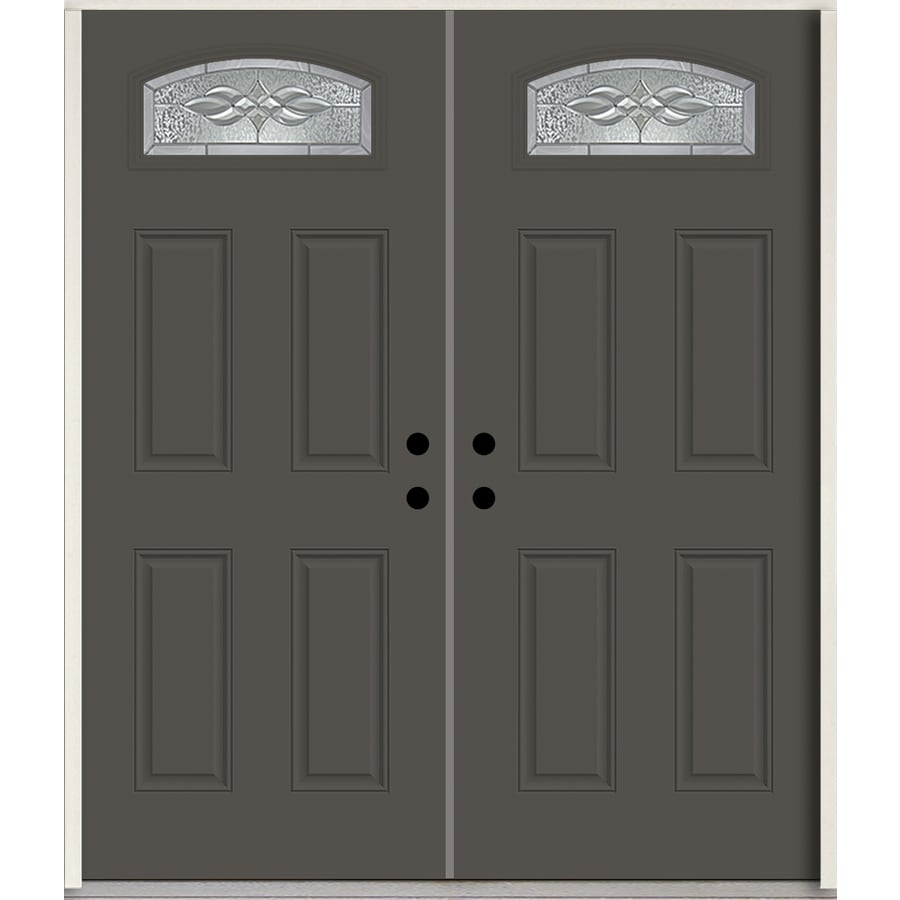 ReliaBilt Hampton 1/4 Lite Decorative Glass Right-Hand Inswing Thunder Gray Painted Fiberglass Prehung Double Entry Door with Insulating Core (Common: 72-in X 80-in; Actual: 73.875-in x 81.75-in)