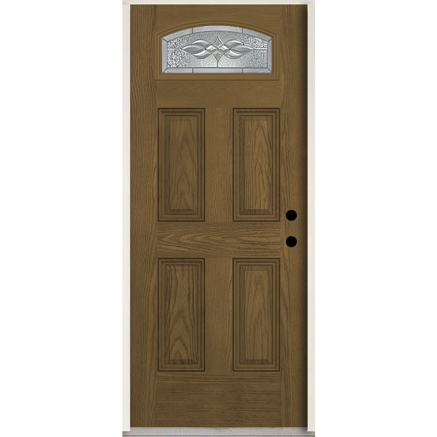 ReliaBilt Hampton 1/4 Lite Decorative Glass Left-Hand Inswing Walnut Stained Fiberglass Prehung Entry Door with Insulating Core (Common: 36-in X 80-in; Actual: 37.5-in x 81.75-in)