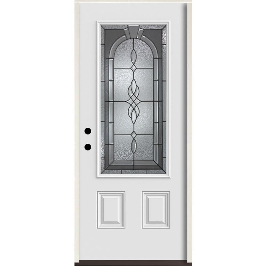 ReliaBilt Hampton 3/4 Lite Decorative Glass Right-Hand Inswing Arctic White Painted Fiberglass Prehung Entry Door with Insulating Core (Common: 36-in X 80-in; Actual: 37.5-in x 81.75-in)