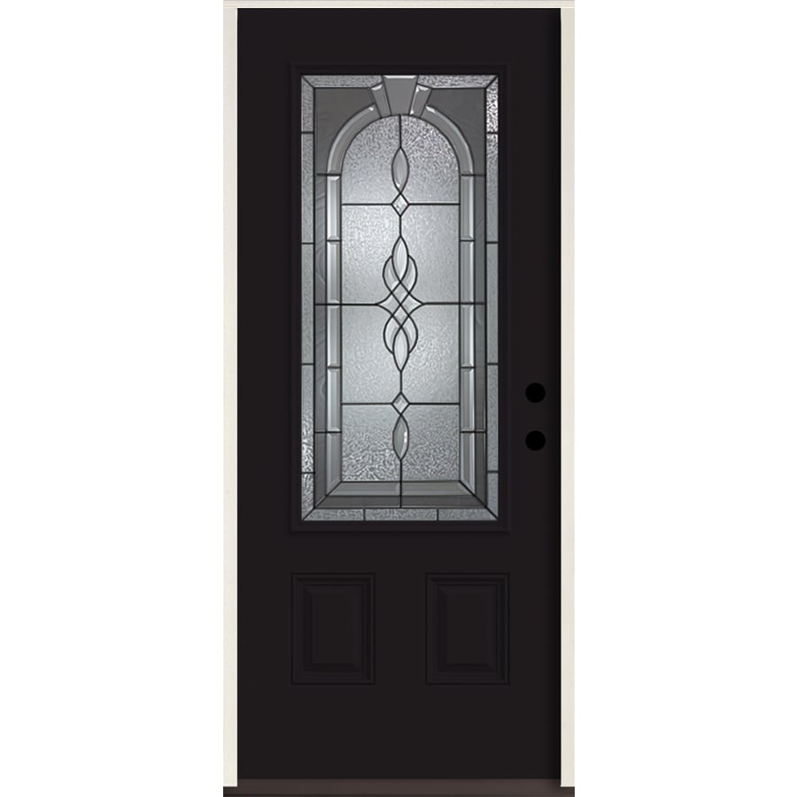 ReliaBilt Hampton 3/4 Lite Decorative Glass Left-Hand Inswing Peppercorn Painted Fiberglass Prehung Entry Door with Insulating Core (Common: 36-in X 80-in; Actual: 37.5-in x 81.75-in)