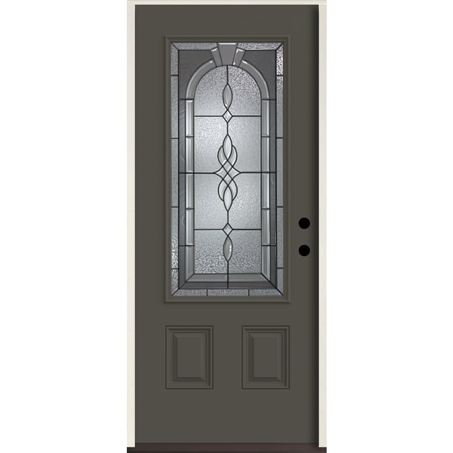 ReliaBilt Hampton 3/4 Lite Decorative Glass Left-Hand Inswing Thunder Gray Painted Fiberglass Prehung Entry Door with Insulating Core (Common: 36-in X 80-in; Actual: 37.5-in x 81.75-in)