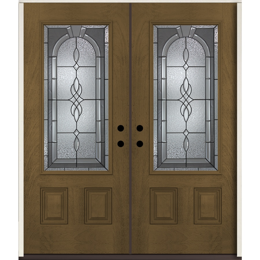 ReliaBilt Hampton 3/4 Lite Decorative Glass Right-Hand Inswing Walnut Stained Fiberglass Prehung Double Entry Door with Insulating Core (Common: 72-in X 80-in; Actual: 73.875-in x 81.75-in)