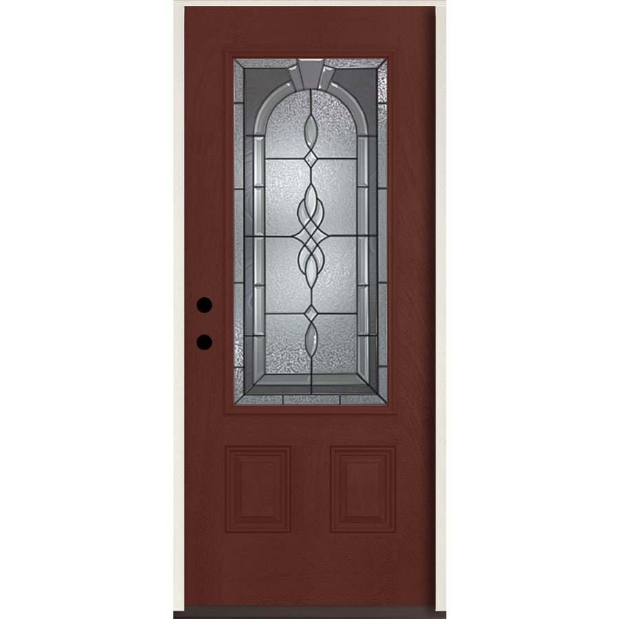 ReliaBilt Hampton 3/4 Lite Decorative Glass Right-Hand Inswing Wineberry Stained Fiberglass Prehung Entry Door with Insulating Core (Common: 36-in X 80-in; Actual: 37.5-in x 81.75-in)
