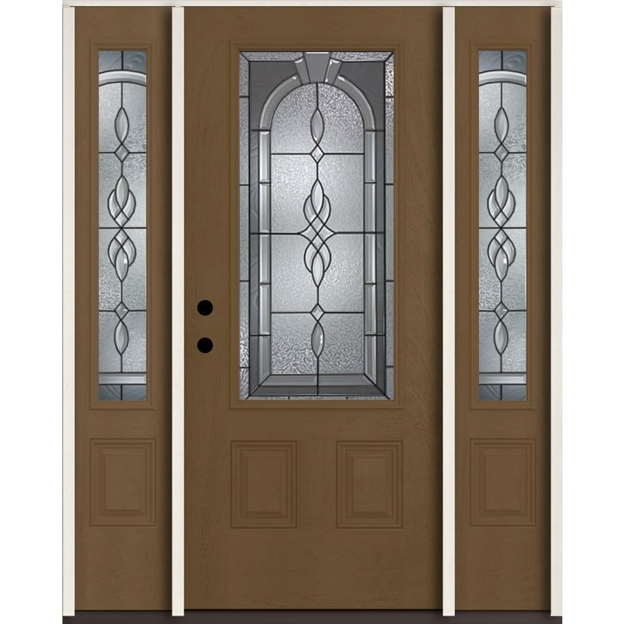 ReliaBilt Hampton 3/4 Lite Decorative Glass Right-Hand Inswing Woodhaven Stained Fiberglass Prehung Entry Door with Sidelights and Insulating Core (Common: 60-in X 80-in; Actual: 64.5-in x 81.75-in)